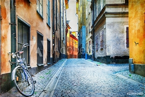 Picture of Authentic narrow streets of old town of Stockholm, Sweeden